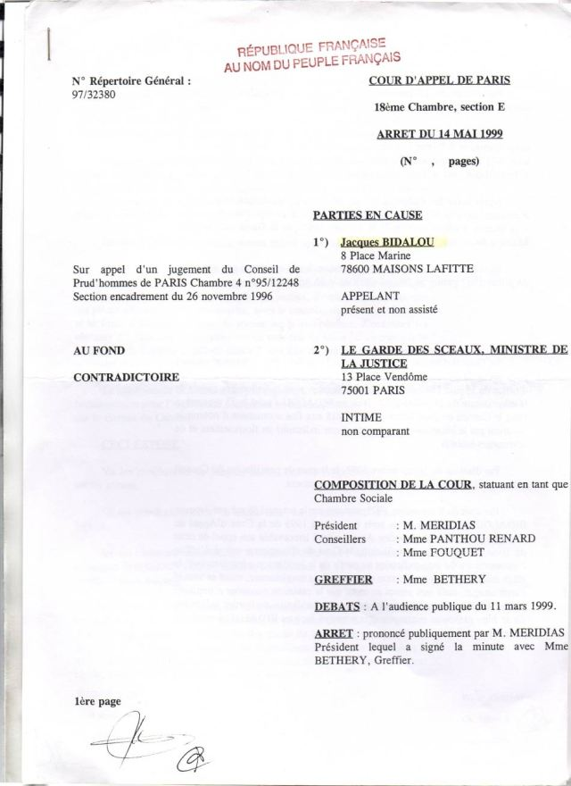 Prud'Hommes, Ca Paris 14/05/1999   Syndicat Des Justiciables