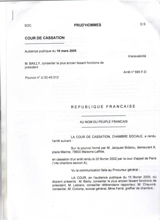Prud'Hommes, Cour De Cassation, 16/05/2005   Syndicat Des Justiciables